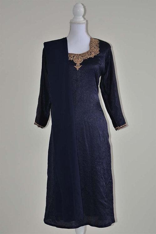 Dark blue crepe style three piece salwar with beige embroidery