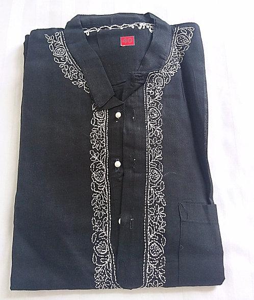 Black 2 piece Kurta pyjama set with white chikan borders