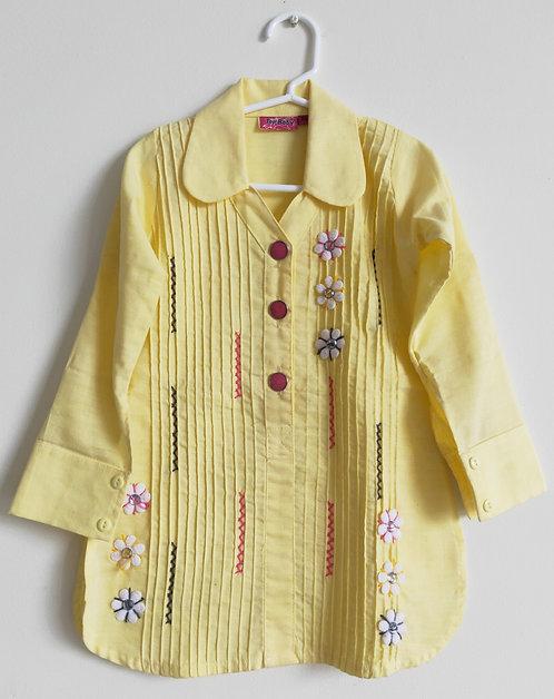 Stylish yellow cotton punjabi two piece suit