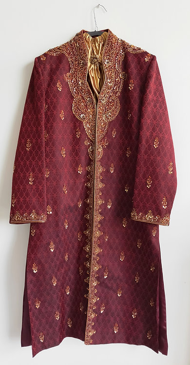 Stylish maroon brocade sherwani with red stone work and gold sequin design