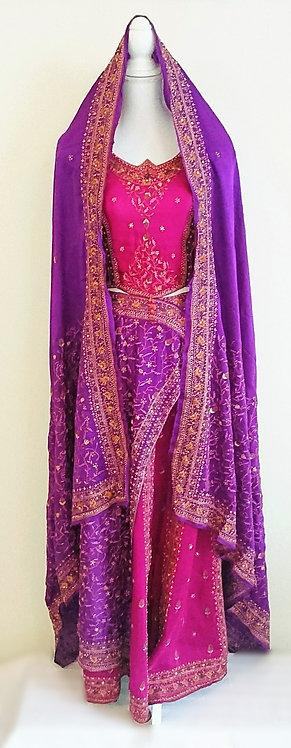 Beautiful Purple & Magenta designer 3 piece pure silk lengha