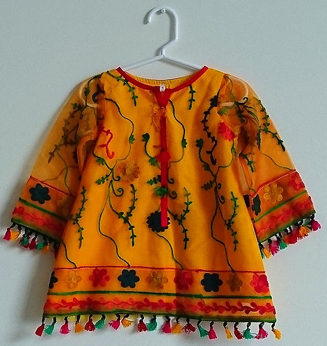 Cute baby yellow and red two piece suit