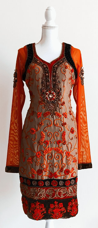 Designer two piece brown suit with velvet and stone work design