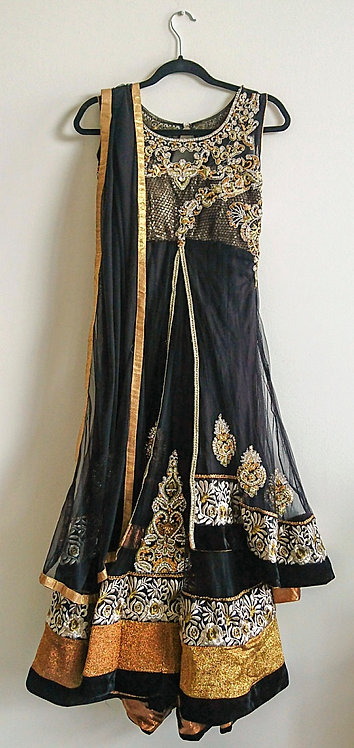Glittering black and gold 3 piece anarkali suit