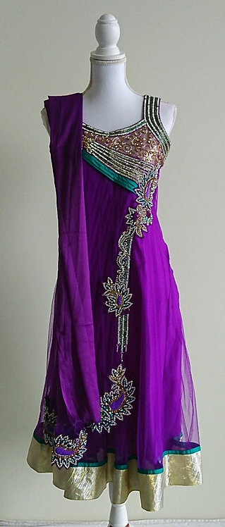 Stunning 3 piece net anarkali suit in purple and green