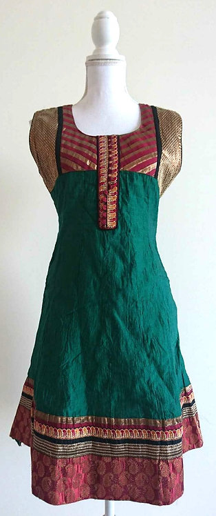 Dark green kurti top with red and gold chest design