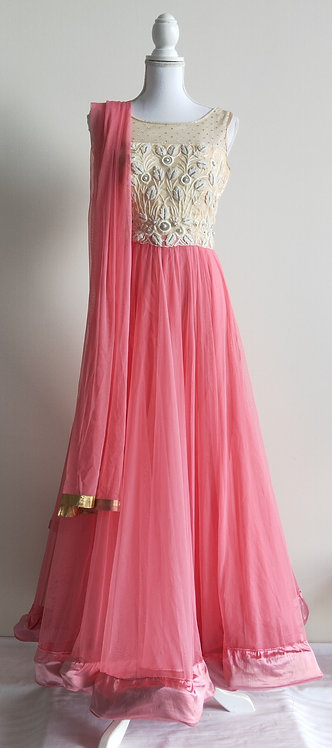 Beautiful baby pink and cream three piece gown