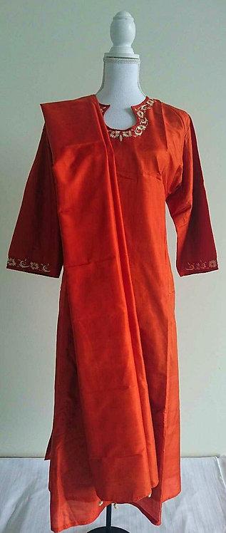 Three piece orange silk suit with beige neck design