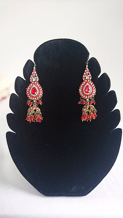 Gorgeous red stone long earrings