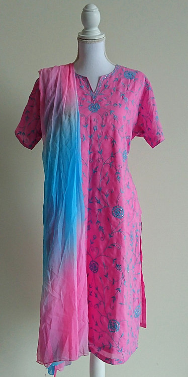 Bright pink cotton blend 3 piece suit with light blue embroidery throughout