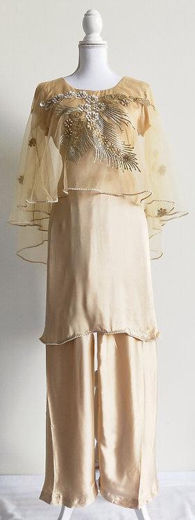 Stunning beige satin bolero style two piece suit