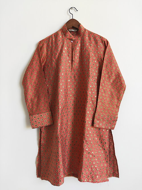 red and gold festive kurta top