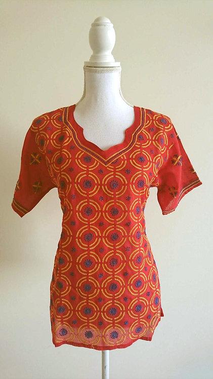Red cotton kurti top with yellow circle pattern