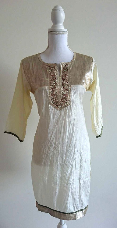 Cream silk blend kurti top with gold embroided chest design