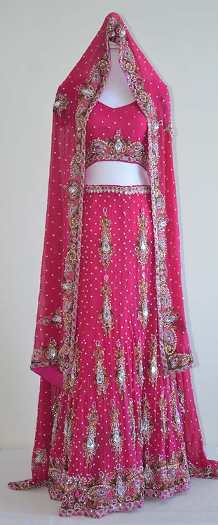 Stunning dark pink three piece bridal lengha with heavy stone embroidery