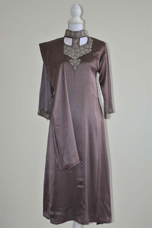 Purple satin three piece salwar suit with silver embrodiary