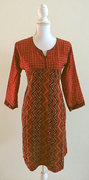 Maroon cotton long kurti top printed
