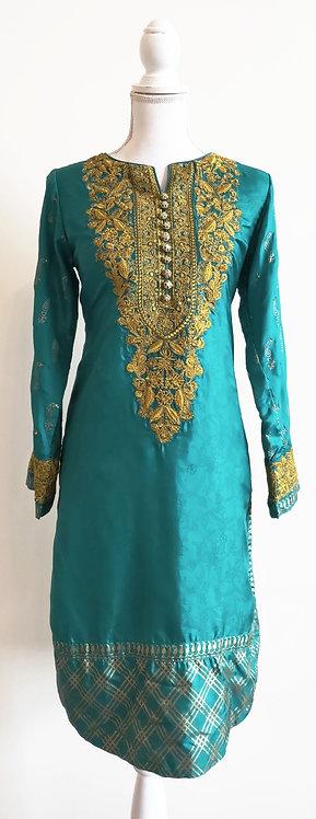 Beautiful green and gold silk blend kurti top