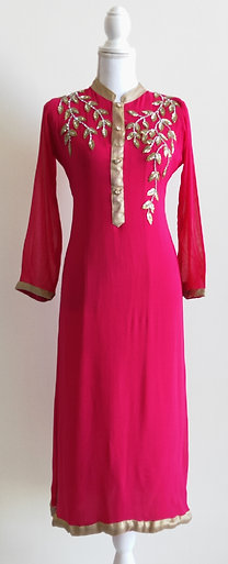 Beautiful bright pink and gold long two piece suit
