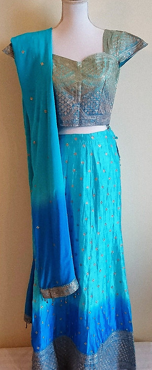 Gorgeous silk two toned lengha in light/dark blue with heavy silver embrodiary