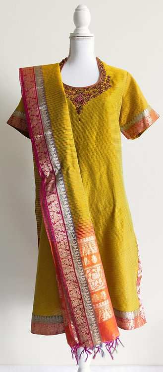 Stylish mustard and pink three piece cotton blend suit with heavy duppatta