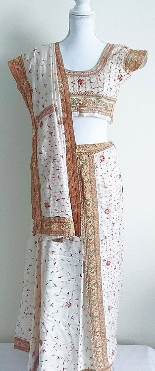 Beautiful ivory silk lengha with heavy border and intricate kashmiri work