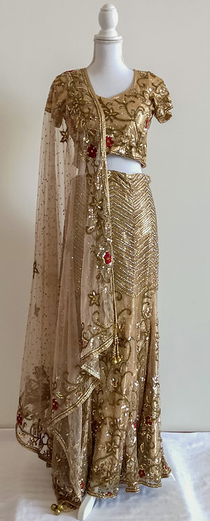 Gorgeous shimmering gold and red floral 3 piece lengha
