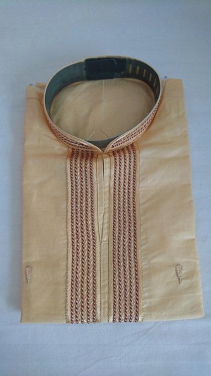 Beige silk blend kurta with maroon embroidery