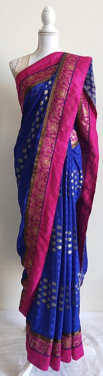 Royal blue and pink sari with gold dot design