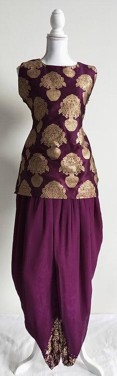 Gorgeous brocade purple and gold kurti with dhoti pants