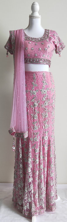 Beautiful baby pink lengha sari