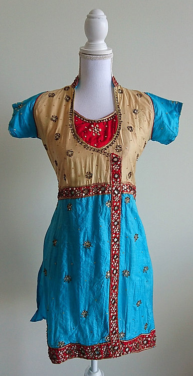 Beautiful light blue kurti with red and beige embellishments