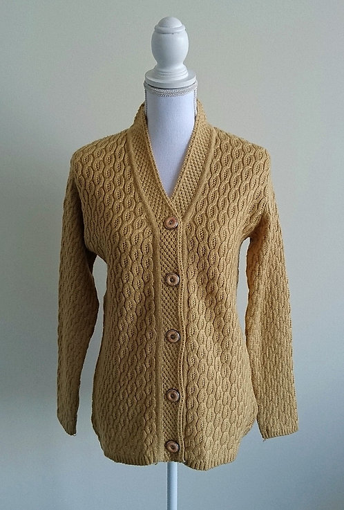 Long woolen cardigan available in beige or maroon
