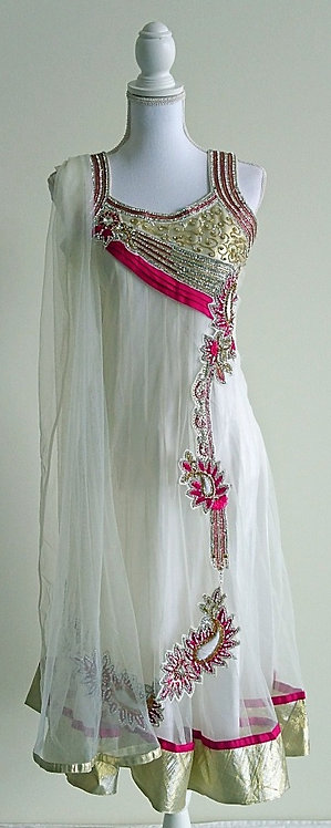 Stunning 3 piece net anarkali suit in white and pink