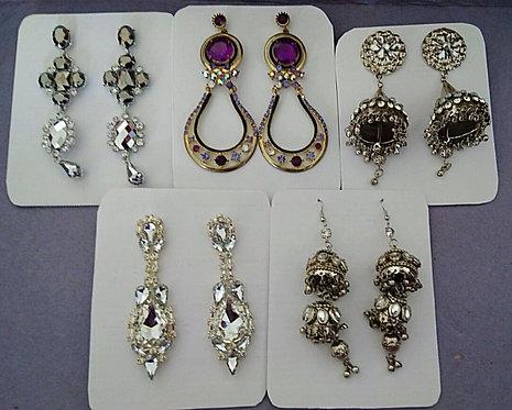 Assorted long stone earrings in silver
