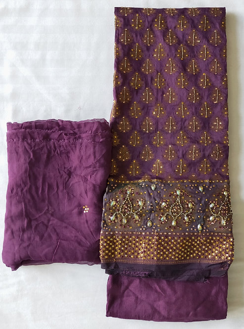 Gorgeous purple and gold unstitched material