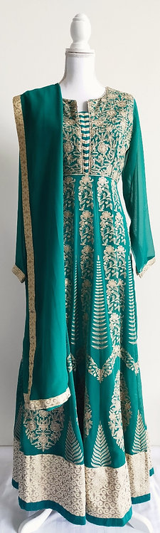 Gorgeous forest green anarkali three piece suit with beige embroidery