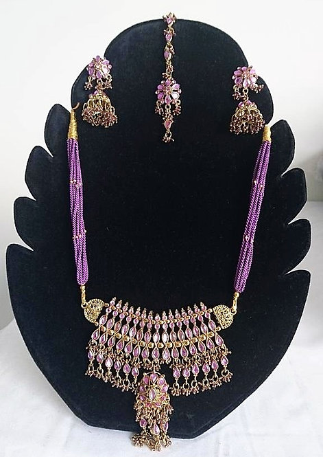 Stunning purple long necklace 4 piece artificial jewellery set