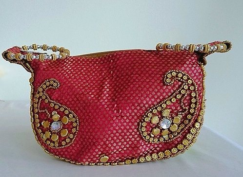 Beautiful brocade look sari clutch with gold stone embellishments