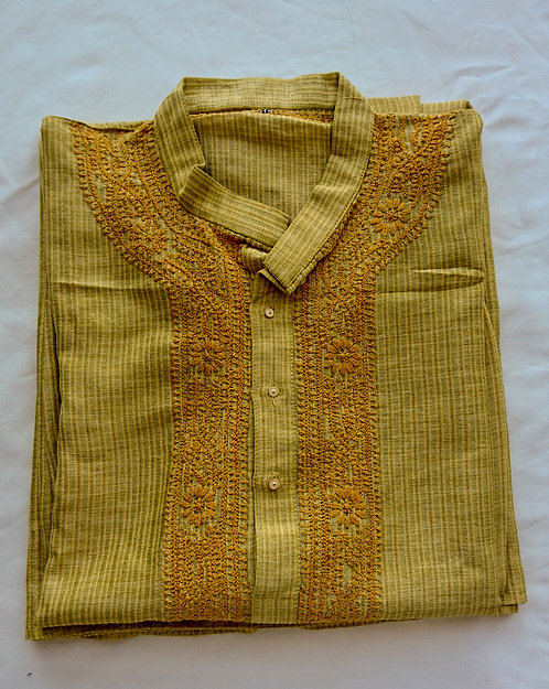 Mustard yellow cotton kurta pyjama set