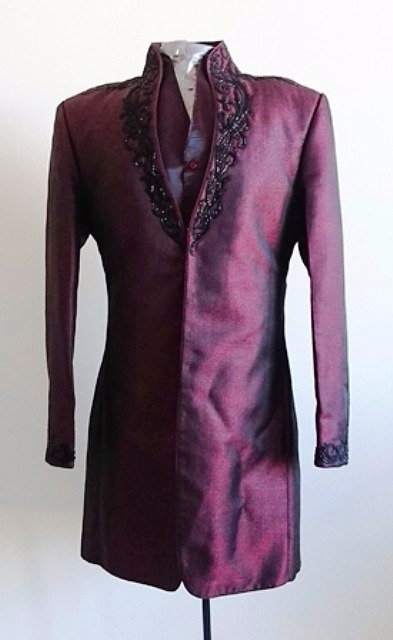 Stylish Branded Maroon Indo Western 3 piece suit with black beading