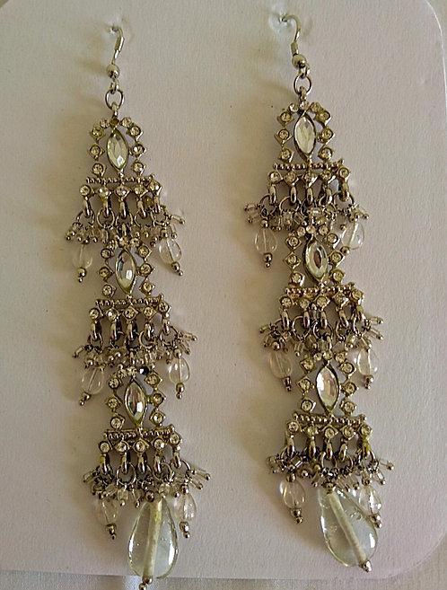 Stylish long silver three tier earrings