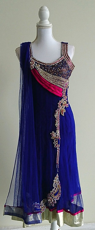 Stunning 3 piece net anarkali suit in blue and pink