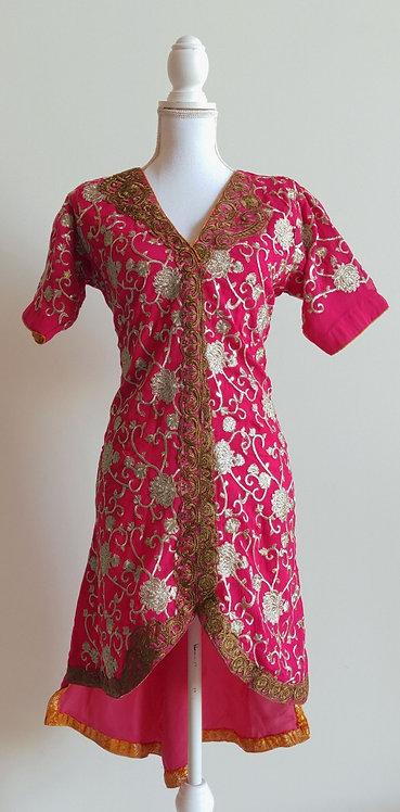 Stylish hot pink heavily embroided kurta top