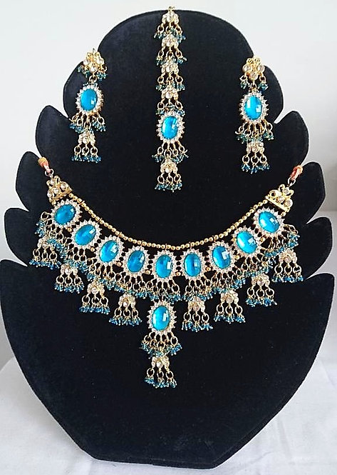 Beautiful blue stone 4 piece artificial set