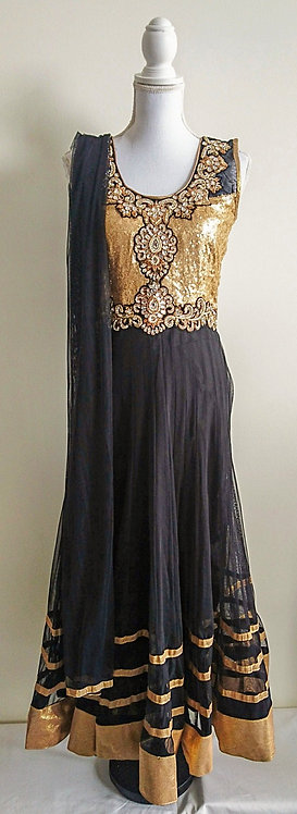 Stunning black and gold 3 piece anarkali suit