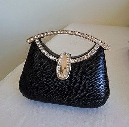 Small black hard case bag with diamonte feature