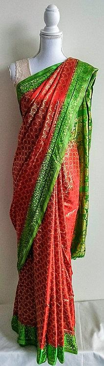 Beautiful red silk sari with green border