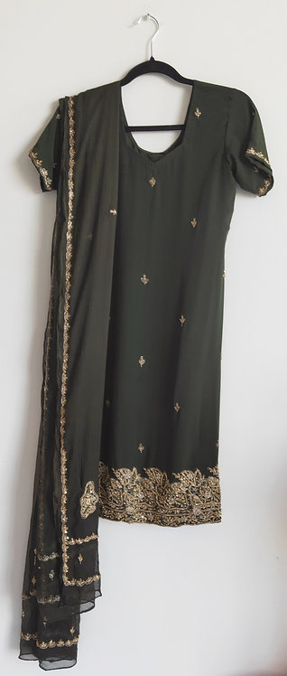 Stylish black three piece suit with gold embroidery