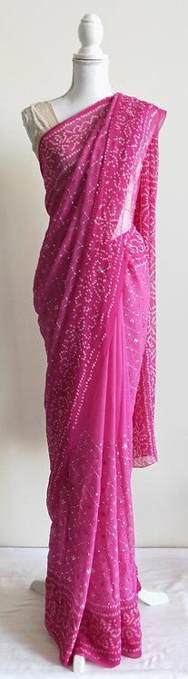 Beautiful bright pink bandhani sari